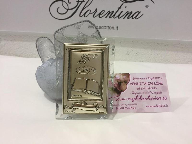 Anniversario pergamena argento e vetro 25 anni di for Bomboniere per i 25 anni di matrimonio