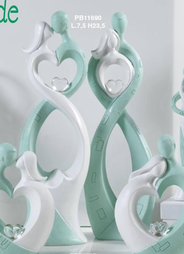 Favoloso Bomboniere Matrimonio - Innamorati Stilizzati 23 Cm Verde E Bianco  ZF91